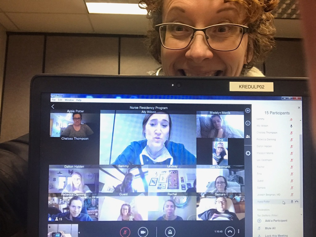 Teri Steffens, KRMC Nurse Residency Coordinator, shares a smile remotely with our current cohort.